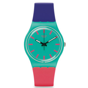 Swatch – Jam Tangan Wanita – Biru – Rubber Warna-Warni